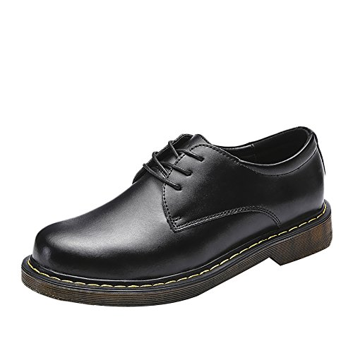 Insun Mens Casual Leather Oxford Shoes Round Toe Black