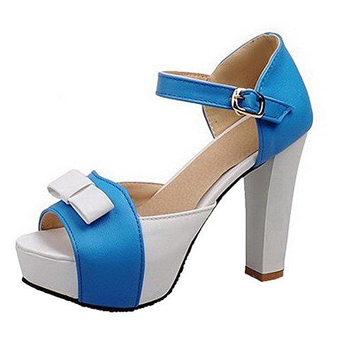 AalarDom Damen Schnalle Offener Zehe Hoher Absatz Pu Leder Gemischte Farbe Sandalen Blau