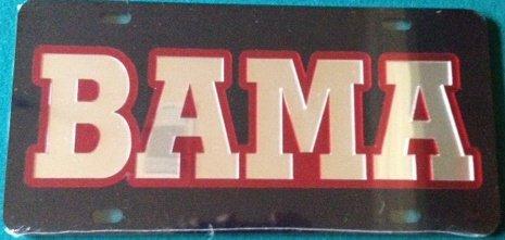 Alabama Crimson Tide Black Silver Mirrored License Plate - BAMA Car Tag