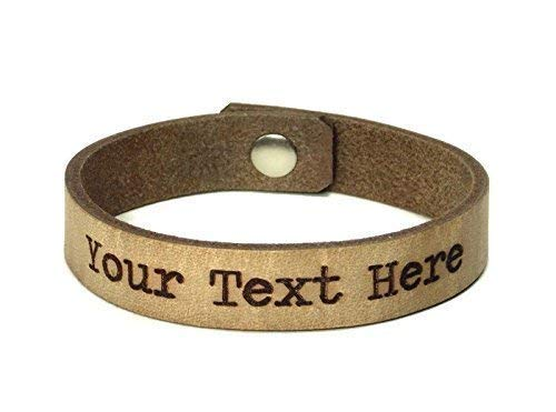 199e3869d40de Personalized Leather Bracelet Laser Engraved with Text of your Choice, Snap  Closure, 1/2 inch wide