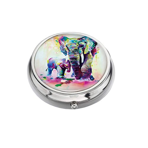 Pattern Oil Lighter - Rex Parker Pill Box -Compact 3 Compartment Medicine Case, Pill Box for Pocket or Purse(Color Oil Painting Elephant Pattern),Circular