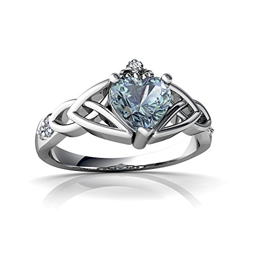 14kt White Gold Aquamarine and Diamond 6mm Heart Claddagh Trinity Knot Ring - Size 4