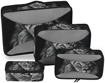 ブラックホワイトライオンキングアート荷物パッキングキューブオーガナイザートイレタリーランドリーストレージバッグポーチパックキューブ4さまざまなサイズセットトラベルキッズレディース