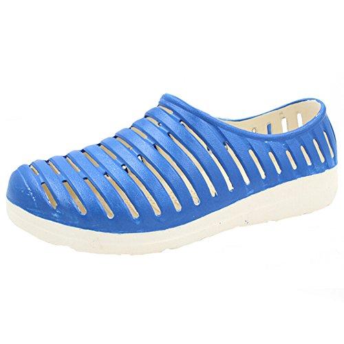 Angelliu Frau schlug Farbe einfach hohle geschlossene Zehe Sommer Sandalen flache Schuhe Krankenschwester Schuhe Blau