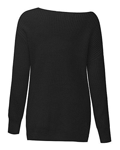 Elegante Nero Casual Maglia Collo StyleDome Manica Crochet Lunga V Maglione Donna Invernale Pullover pE7XPq