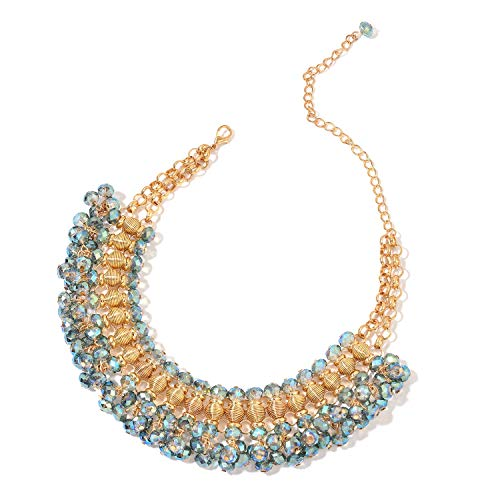 Shop LC Delivering Joy Bib Choker Glass Goldtone Peacock Statement Necklace for Women Jewelry 13-19