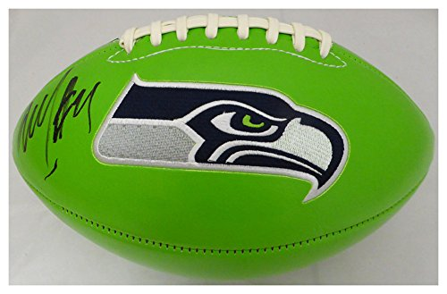 Marshawn Lynch Autographed Signed Green Logo Football Seattle Seahawks ML Holo #20977 - Certified Authentic ()