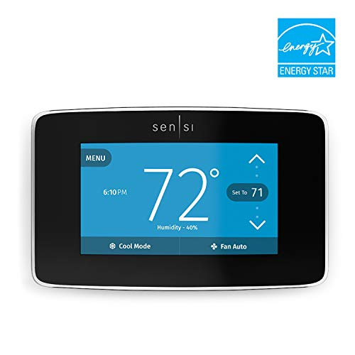 Emerson Sensi Touch Wi-Fi Thermostat with Touchscreen Color Display, Black, Energy Star ()