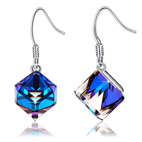EleShow S925 Sterling Silver Earrings for Women Cube Earrings for Her Earrings Hypoallergenic Crystal from Swarovski (B_Blue Drop Earriings)