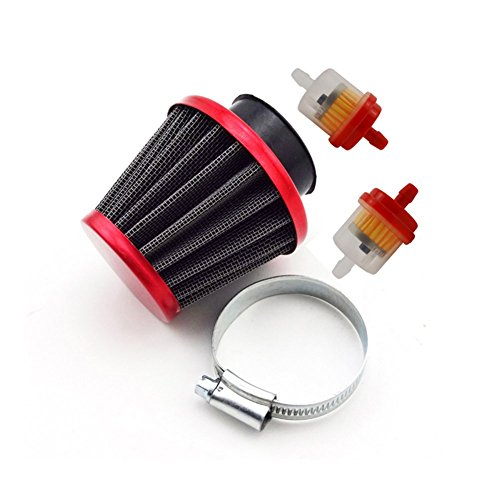 TC-Motor Red Motorcycle 38mm Air Filter Fuel Cleaner For 50cc 90cc 110cc 125cc Pit Dirt Bike ATV & GY6 50cc QMB139 Engine Moped Scooter