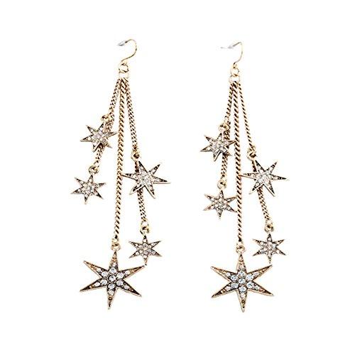 LOVFASHION Vintage Bohemia Dangle Earrings Long Chain Star Tassel Earrings Women Girls Gifts¡]()