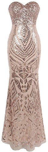 Angel-fashions Women's Notched Strapless Paillette Column Sheath Prom Dress (M, Champagne)