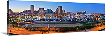 CANVAS Baltimore Skyline DUSK 16 inches x 46 inches COLOR City Downtown Photographic Panorama Print Photo Picture