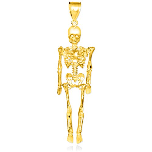 Petits Merveilles D'amour - 10 ct 471/1000 Diamant Coupe d'or 3D Skeleton Dangle Pendentif Pendentif
