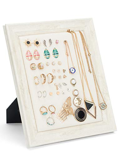 (Earrings Display Holder Vintage Jewelry Frame Linen Pad Jewelry Display Organizer with 40 Pcs Pearl Pins (Beige))