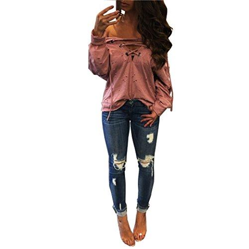 Kimooog Women Long Sleeve Deep V-Neck Crisscross Hollow Drawstring Holes Hoodie Sweatshirt Pullover Tops (L, Pink)