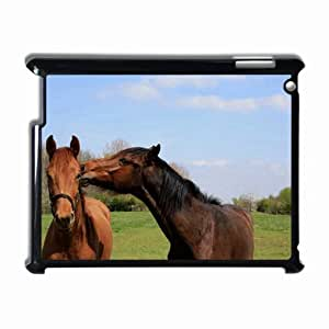 Customized Back Cover Case For iPad 2 3 4 Hardshell Case, Black Back Cover Design Horse Personalized Unique Case For iPad 2