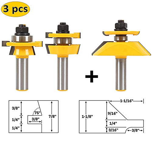 LETBE 3 PCS Router Bit Set, 1/2-Inch Shank Round Over Raised Panel Cabinet Door Rail and Stile Router Bits, Woodworking Wood Cutter, Wood Carbide Groove Tongue Milling Tool (1/2, HXRD-D32B) ()