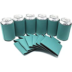 TahoeBay 12 Can Sleeves - Teal Beer Coolies for Cans and Bottles - Bulk Blank Drink Coolers – DIY Custom Wedding Favor, Funny Party Gift (Teal, 12)
