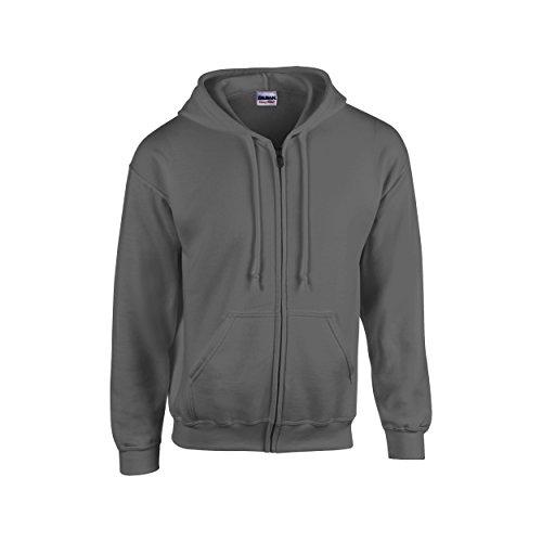 Gildan Heavy Blend Unisex Adult Full Zip Hooded Sweatshirt Top (2XL) (Graphite (Heavy Hooded Top)