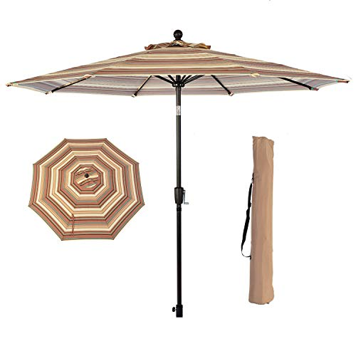 LCH 9 ft Patio Umbrella Set Backyard Garden Aluminum Outdoor Umbrella 1.5'' Pole 8 Ribs Tilt Easy Crank Open, Umbrella Cover, Beige by LCH