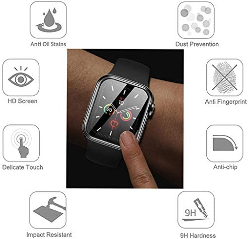 Apple Watch Series 6/5/4/SE Screen Protector 44mm [2 Pack] 2021 With Alignment Tool-waterproof-Bubble-Free- three-D Full Coverage Anti-Scratch Shatter-Proof HD Film Screen Protector for Apple iWatch 44mm