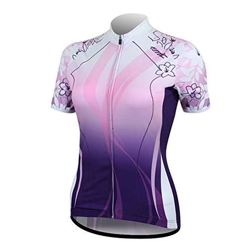 (Santic Women's Full-Zip Short Sleeve Cycling Jersey Small Purple)