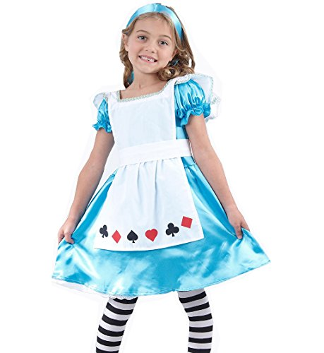 Wonderland Costumes Alice Little In (Glossy Look Little Girl's Alice In Wonderland Outfit Book Day Costume Small (Ages 4-6))