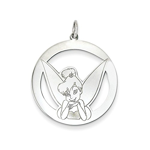 Roy Rose Jewelry Sterling Silver Disney Tinker Bell Round Charm Necklace Complete with Chain