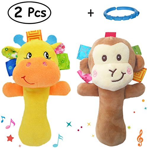 Merveilleux Cartoon Stuffed Animal Baby Soft Plush Hand Rattle Toys Infant Dolls - Giraffe and Monkey ()