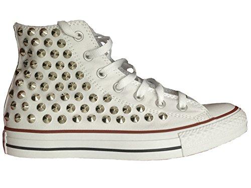 Bianco all borchie star con HI Converse personalizzate argento alta B8xS7Zq