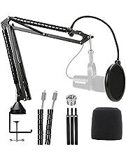 YOUSHARES MV7 Mic Stand met voorruit - Mic Suspension Arm Stand met Pop Filter Compatibel met Shure MV7 Microfoon
