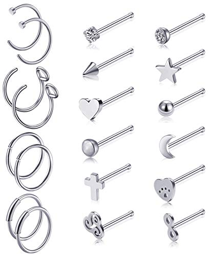 (Ofeiyaa 16Pcs Stainless Steel Nose Rings Geometric Nose Studs Septum Ring Hoop Cartilage Stud Earring I Shape Body Piercing Jewelry for Women Girls Silver Tone)
