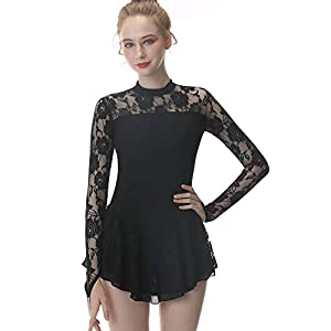 Black Figure Skating Dress,Long Sleeved Ice Skating Skirt,Fingerpoint Sleeves Spandex Competition Dresses Lace Skirt