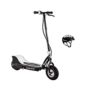 Razor E325 Electric Rechargable 24V Black Scooter And V17 Youth Helmet, Black