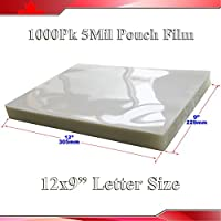 1,000pk 5mil 9x12inch Letter Size Clear Laminating Pouch Film Thermal Hot Lamintor