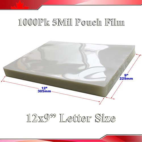 1,000pk 5mil 9x12inch Letter Size Clear Laminating Pouch Fil
