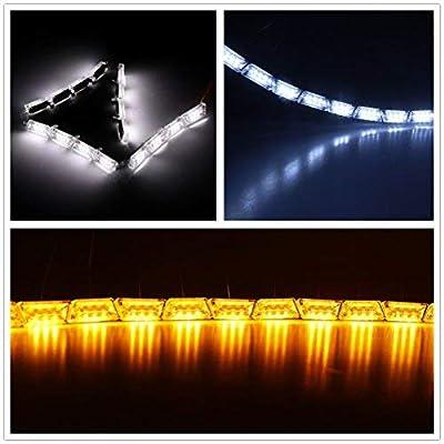 LED Daytime Running Light, DDSKY Car DRL Flowing Turn Singal Light LED Strip Lights Headlight Car Fog Lamp LED White/Amber DRL Strip Pack of 2: Home Improvement