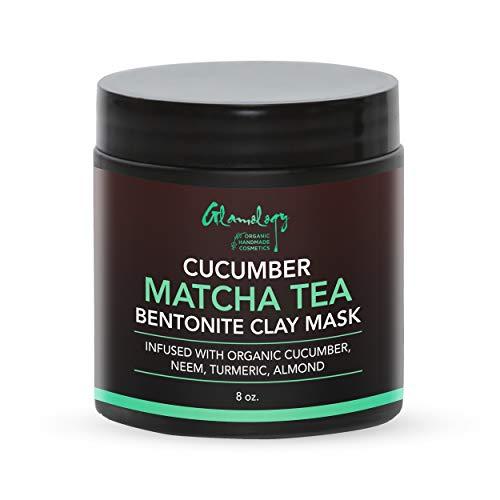 (Matcha Tea, Cucumber, Bentonite Clay Purifying Face Scrub & Exfoliator with Neem Powder, Turmeric and Almond Powder, Improves Complexion, Anti-Aging, Detoxifying, Antioxidant, Moisturizer, Anti-Acne)
