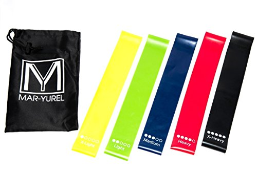 Resistance Bands - Yoga, Pilates, Workout, Exercise - progressive fitness stretch muscle toner and rehabilitation sports - set of 5 Loops By Mar-Yurel