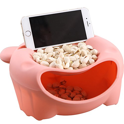 Hipat Snack Bowl with Shell Holder, Cute Bear Double Dish Nut Bowl With Cellphone Holder Slot for Pistachio, Peanuts, Sunflower Seed, Edamame, Cherries, Candies (Dish Candy Shell)