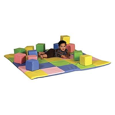 ECR4Kids Patchwork Toddler Mat and Toddler Blocks
