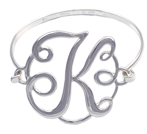Monogram Initial English Alphabet Letter Bangle Bracelet