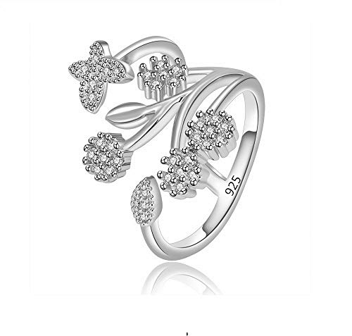 - JOYID Butterfly Flower Open Ring Crystal Setting Elegant 925 Sterling Silver Adjustable Ring Jewelry for Women-Silver