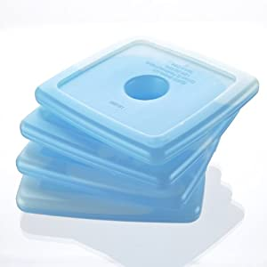 Fit & Fresh Cool Coolers Slim Reusable Ice Packs for Lunch Boxes, Lunch Bags and Coolers, Set of 4, Blue
