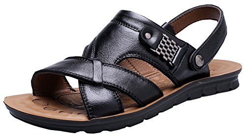 Vocni Men's Open Toe Casual Leather Comfort Shoes Sandals -Black EU 43-10D(M) US