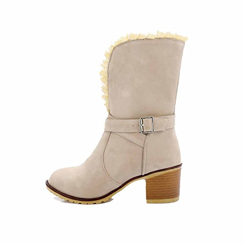 Toe Buckle Boots AmoonyFashion Mid Heels Closed Kitten Round Beige Women's Top Frosted fU6xq7wnUz