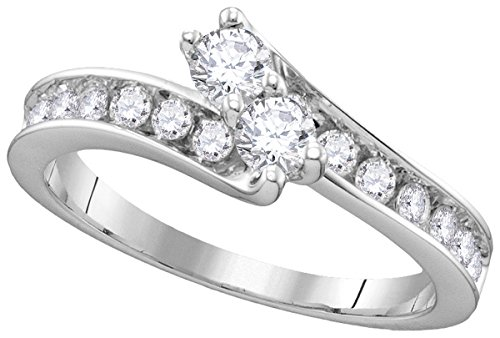 14kt White Gold Womens Round Diamond 2-stone Hearts Together Bridal Wedding Engagement Ring 1-3/8 Cttw by JawaFashion