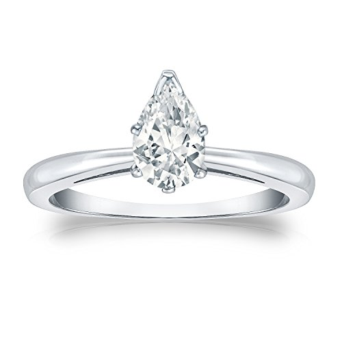 (IGI Certified Platinum V-Prong Pear-cut Diamond Solitaire Ring (3/4 cttw, White, SI2-I1) Size 6 )
