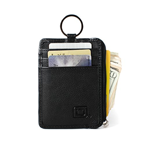 RFID Slim ID Wallet Card Holder - Key Ring Front Pocket Wallet with Coin Zipper ()